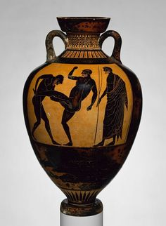 Panathenaic prize amphora, ca. black-figure Attributed to the Kleophrades Painter Greek, Attic Terracotta; 25 in. cm) Rogers Fund, 1916 Reverse: pankration (athletic contest) and judge Obverse: Athena. Mycenaean, Minoan, Ancient Greek Art, Ancient Greece, Greek History, Art History, History Essay, History Timeline, Black History