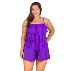 OFF - Fit Plus Size Romper Shortini Bandeau Swimsuit - Lavender Best Swimsuits, Plus Size Swimsuits, Women Swimsuits, Bandeau Swimsuit, One Piece Swimsuit, Plus Size Romper, Plus Size One Piece, Swim Dress, Rompers Women