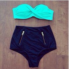 High waist bikini Oh my it has zippers  Now i really need it