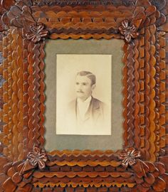 Tramp Art Portrait Frame with Floral Corners by John Zubersky » Clifford A. Wallach