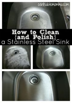 Just 3 steps using common household ingredients to have a clean and shiny stainless steel sink! hardwater stains | baking soda | olive oil | flour