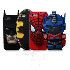 3D Cartoon Movie Figure Batman Spider-man Soft Case Cover For IPHONE 5S 6 Plus #other