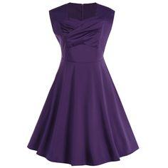 Plus Size Vintage Sleeveless Swing Dress - Purple 4xl Mobile