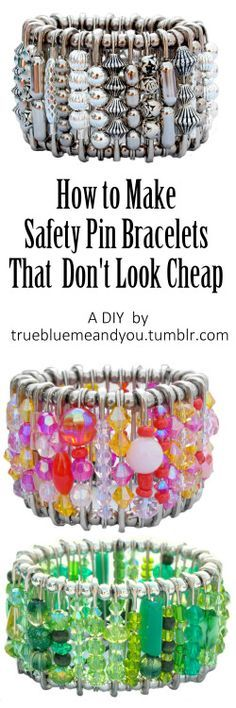 How to make safety pin bracelets that don't look cheap. See the short video tutorial on how to make these gorgeous cuffs that Hannah sells in her Etsy store.