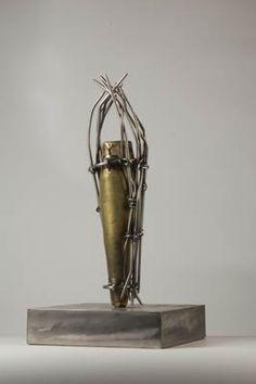 Nicolas Vlavianos  Nike, 2007 stainless steel, brass 23 x 11 1/2 x 11 1/2 inches