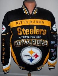 Pittsburgh Steelers NFL 6 Time Super Bowl Champ Jacket By NFL Team Apparel  - Lg dfb257aab
