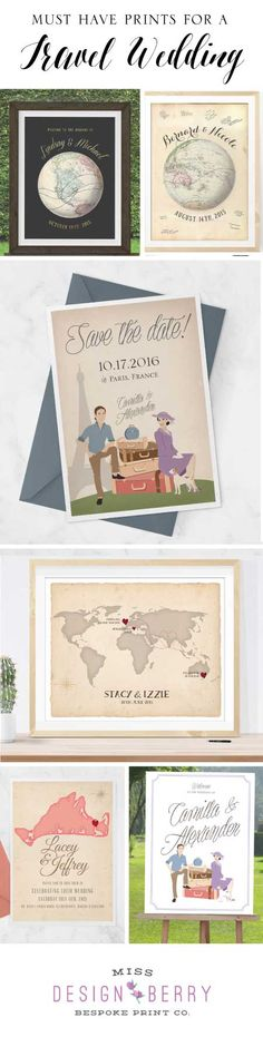 The best #vintage #travel #wedding signs, invites, save the dates, and more from MissDesignBerry on Etsy!