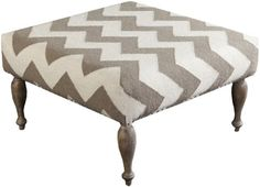 Surya FL1019-808045 Ottoman, 32 by 32 by 18-Inch, Taupe/Ivory