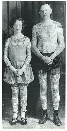 Vintage tattooed couple