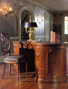 English kidney-shaped desk, Biedermeier chair, lamp.