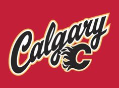 Calgary Flames Jersey Logo - Calgary scripted in black across a red jersey, black C logo below. Worn on Calgary Flames red alternate jersey starting with the season Hockey Logos, Nhl Logos, Ice Hockey Teams, Sports Team Logos, Flames Hockey, Hockey Stuff, Calgary, Pilates, Team Mascots