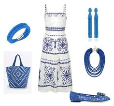 """Beautiful Blue Patterns"" by books-are-awesome-101 ❤ liked on Polyvore featuring Monsoon, Dolce&Gabbana, Handle, Oscar de la Renta, Capri Blue and BaubleBar"