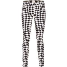 Dondup Tara Black White Patterned skinny pants