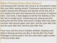 Bikini waxing series available at KB Organic Skin Care   Http://www.kbaesthetics.vpweb.com