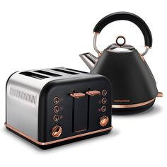 Modern Kitchen Interior Black Accents Rose Gold Pyramid Kettle and 4 Slice Toaster Set Copper Kitchen Accessories, Copper Kitchen Decor, Kitchen Tiles, Home Decor Kitchen, Home Decor Accessories, Decorative Accessories, Bathroom Accessories, Copper Decor, Room Tiles