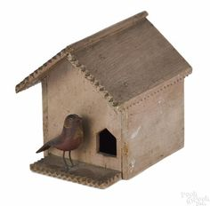 Pennsylvania carved and painted wooden birdhouse whimsy, ca. 1900, with a gabled roof, 4 1/4'' h.