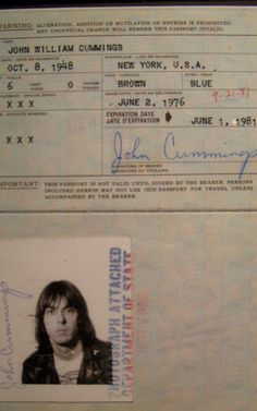 Joey Ramone's Passport