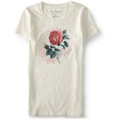 Aeropostale Solo Rose Graphic T featuring polyvore women's fashion clothing tops t-shirts cream white cotton tee rose t shirt graphic design t shirts slim fit tees cotton tee