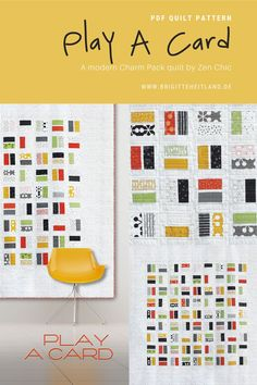 $11.95 PLAY A CARD | PDF quilt pattern for a youthful Charm Pack quilt by Zen Chic. Make this easy to sew quilt using two charm packs and some background yardage. Level: beginner