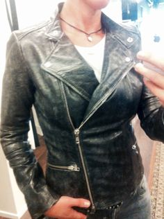 leather bikerjacket Only