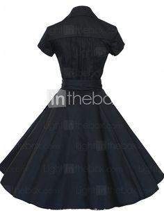 39441aaf8a05 A ruota Vestito Da donna-Per uscire   Taglie forti Vintage Tinta unita A V  Al