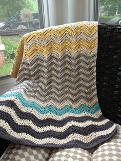Color Inspiration :: bluedaffodil's Princess Ella's Blanket -- Pretty chevron stripe pattern & choice of colors. **This is the crocheter's modified personal pattern; recommend Lucy's Neat Ripple pattern at this link: http://attic24.typepad.com/weblog/neat-ripple-pattern.html  . . . .   ღTrish W ~ http://www.pinterest.com/trishw/  . . . . #crochet #afghan #throw