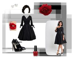 """""""Untitled #54"""" by karalyn-yaun ❤ liked on Polyvore featuring Unique Vintage, OPI, Lipsy, Mikimoto and Charlotte Tilbury"""