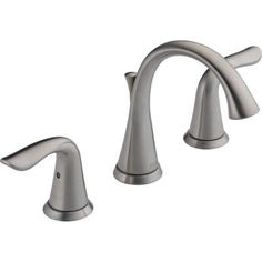 Delta Lahara 8 in. Widespread 2-Handle High Arc Bathroom Faucet in Stainless - 3538LF-SS at The Home Depot