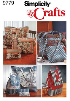 Tote Bag, Backpack, Purse Sewing Pattern 9779 Simplicity