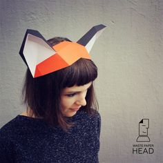 Бумажные уши лисы шаблон для печати от WastePaperHead на Etsy