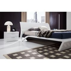 Orca Contemporary Platform Bed with Built-in Lights, Nightstand, and Dresser with Mirror $2290
