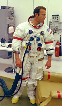 Apollo 14 commander Alan Shepard. Apollo 14 commander Alan Shepard during suit checks before his trip to the lunar surface in 1971.