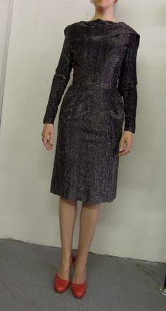 Gorgeous 1950s Lurex Cocktail dress Long sleeves by DatedBrooklyn, $260.00