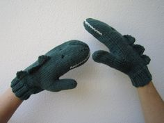 Crocodile animal mittens dark green pure Australian by HotScones, $55.00