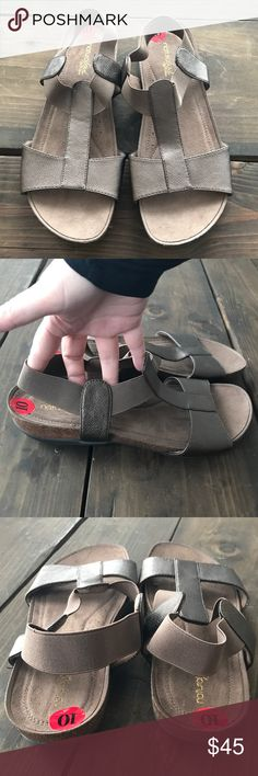 NWT Naturalizer Bare Flex Grey Stretch Sandal Brand New Naturalizer Natural Soul Bare Flex Sandals Dark Grey Color Stretchy around the Ankle for slipping on and off and comfort while on Leather parts are cushioned underneath for comfort Size 10 Naturalizer Shoes Sandals