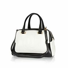 Black and white RI embossed bowler bag - shoppers / tote bags - bags / purses - women