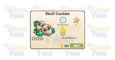 Nuova coltivazione disponibile nel Market: Skull Cookies  Nuova coltivazione disponibile nel Market  Skull Cookies  Livello minimo: 5  Matura in: 4 ore  Costa: 125 Coins  Fa guadagnare 1 XP  Rende: 250 Coins  Mastery: 600 / 600 / 600 (tot. 1.800)