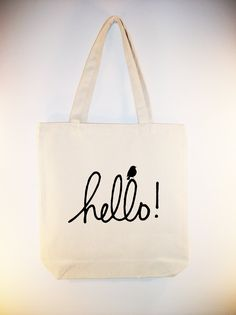 """Adorable """"hello"""" tote with little bird - image in ANY COLOR you like.  Other sizes available. $12,00, via Etsy."""