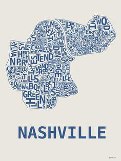 I grew up in Nashville.  Love this by artist Hunter Mize Nashville, TN