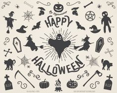 """Halloween Clipart Clip Art: """"Halloween Clipart"""" digital pack with witch hat pumpkin bat spider web and other elements of halloween halloween clip art halloween clipart halloween clip art clipart halloween design halloween party trick or treat pumpkin digital witch ghost spider web 6.00 USD #goriani"""
