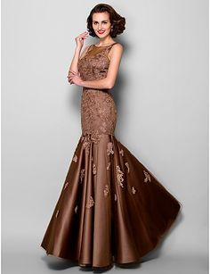 Trumpet/Mermaid Bateau Floor-length Satin And Tulle Mother of the Bride Dress – USD $ 189.99