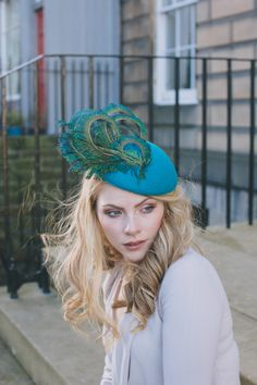 Elegant teal felt and peacock feather percher hat for wedding guest or  races. d0273a27abf8