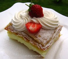 Cremsnit delicios! Romanian Food, Romanian Recipes, Russian Desserts, Tart, Cheesecake, Goodies, Dessert Recipes, Cooking Recipes, Pastries