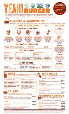 Cute and easy to navigate menu from YEAH! Burger in Atlanta. So wanna go! Menu Restaurant, Diner Menu, Cafe Menu, Cafe Food, Food Menu, Restaurant Design, Restaurant Identity, Burger Menu, Burger Places