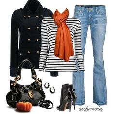 Black striped tee, Black coat and boot, Jeans, Orange scarf - Semi formal Outfit