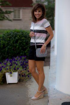 Stripe Top Black Shorts