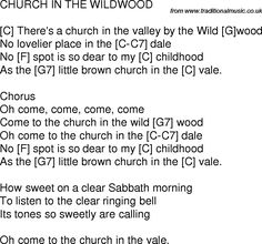 Old time song lyrics with chords for Church In The Wildwood C