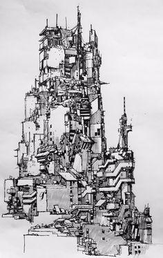 Cyberpunk Kunst, Cyberpunk City, Futuristic City, City Landscape, Fantasy Landscape, City Sketch, City Drawing, Architecture Concept Drawings, Building Sketch