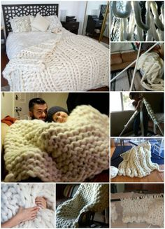 Brilliant!! See How She Knitted this Cozy Giant Blanket with PVC Pipes: