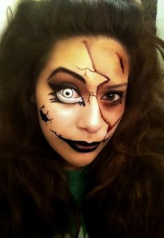 Broken Doll Face-- Halloween Make up